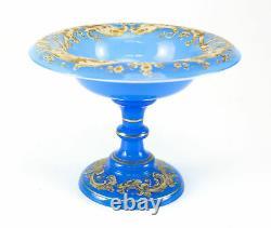 C1860 Hand Painted Blue Opaline Glass Compote White & Gilt Enamel, Squid Motif