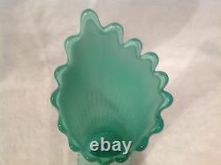 C1941 or 59-61 16 Fenton Emerald Green & White Opalescent Swung Vase RARE VG+++