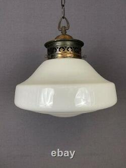 Charlie Art Deco Opaline Pendant Light With Patterned Copper Gallery (20256)