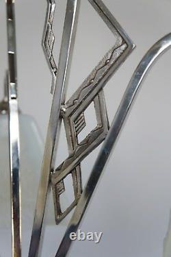 EZAN EJG J. Gauthier FRENCH OPALESCENT ART DECO CHANDELIER. 1930 1935 lustre