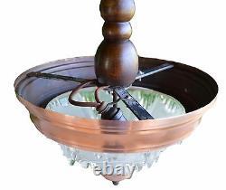 EZAN French Opalescent Glass Art Deco Chandelier Ceiling Lamp Light