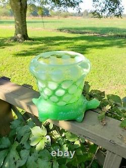 Exceptionally RARE Fenton Jade Turtle With Opalescent Aquarium