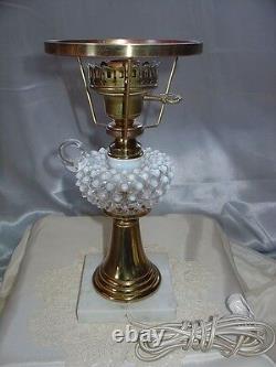 FENTONGLASSVINTAGE60sXSRCFR WHITE OPALESCENTHOBNAILMINIATURE STUDENT LAMP