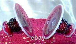 FENTON GLASSVINTAGE50sPLUM OPALESCENTHOBNAILFRUIT BOWL+STICKSCONSOLE SET
