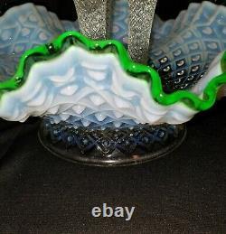 FENTON Hobnail Opalescent Green Crest 3 Horn Epergne Trumpet Vase Beautiful