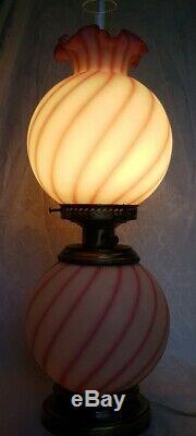FENTON ROSALINE & WHITE SWIRLED SATIN GLASS GWTW Hurricane Banquet Lamp 3 WAY