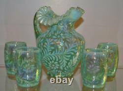 FENTON WATER SET Daisy & Fern Springtime Green Opalescent 5pc RARE! FREEusaSHIP