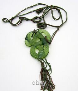 Fabulous Large LALIQUE Serpent Snake Savior Faire Opalescent Green Necklace