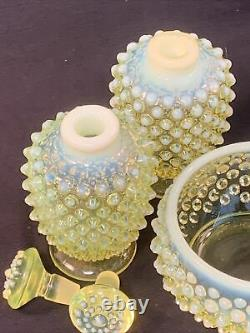 Fenton 3 Pc Opalescent Yellow Topaz Vaseline Glass Perfume Bottle Pair & Powder