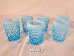 Fenton 7 Pc. Juice Set in Blue Opalescent Hobnail circa 1941/55