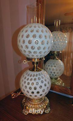 Fenton Aart Glass French Opalescent Coin Dot Lamp Gone with the Wind Perfect