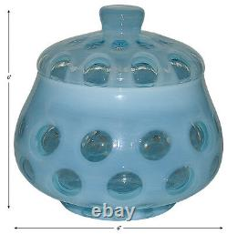 Fenton Art Glass Coin Dot #1522 Blue Opalescent Covered Candy Dish SUPER NICE