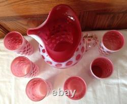 Fenton Art Glass Cranberry Opalescent Coin Dot Ice Lip Pitcher & 6 Tumblers