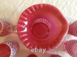 Fenton Art Glass Cranberry Opalescent Hobnail Pitcher & 6 Tumblers A8