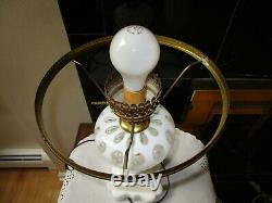 Fenton Art Glass French Opalescent Coin Dot Table Parlor Lamp 21 H Vintage