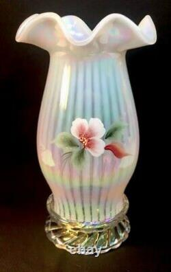 Fenton Art Glass Hand Painted Magnolia Blush On French Opalescent Hurricane Lamp