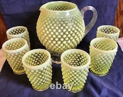 Fenton Art Glass Topaz Yellow Opalescent Hobnail Squat Pitcher & 6 Tumbles