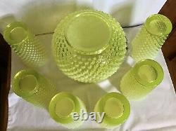 Fenton Art Glass Yellow Topaz Opalescent Hobnail Pitcher & 6 Tumblers
