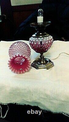 Fenton Beautiful Cranberry Hobnail Opalescent Electric Lamp Brass Base