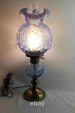 Fenton Blue Opalescent Rose Lamp 22 1/2 Tall