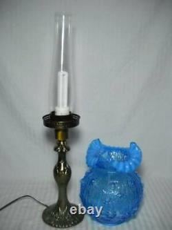 Fenton Cabbage Rose 25 Pillar Lamp Blue with Opalescent Ruffled Shade Brass Base