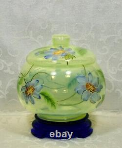Fenton, Candy Box with Base, Topaz Opalescent & Cobalt Blue Glass, Limited Ed