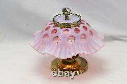 Fenton Ceiling Light Coin Dot Cranberry Opalescent Shade Ruffled Lamp Tested