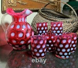 Fenton Cranberry Coin Dot Optic Opalescent Crimped Rim Ball Pitcher & 6 Tumblers