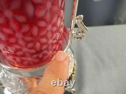 Fenton Cranberry Opalescent Glass Snowflake Silver Plate Pickle Castor with Tongs