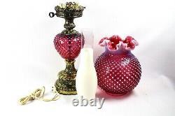 Fenton Cranberry Opalescent Hobnail Pattern Pillar GWTW Lamp 26 Tall