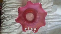 Fenton Cranberry Opalescent Swirl Lamp