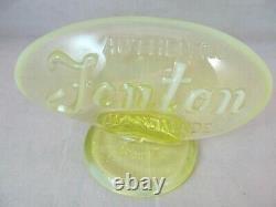 Fenton Factory Oval Vaseline Opalescent Logo Sign Fagca 1980 Yellow Glows