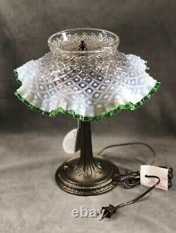 Fenton French Opalescent Emerald Crest Diamond Lace Desk Lamp