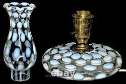 Fenton French Opalescent G70 Dot Optic / Coin Spot Scarce Pancake / Boudoir Lamp
