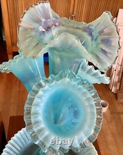 Fenton Glass Blue Opalescent Epergne Bowl 4 Lily Horn Vases Vintage