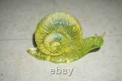 Fenton Glass Topaz / Vaseline Glass Opalescent Rosso Special Order Snail