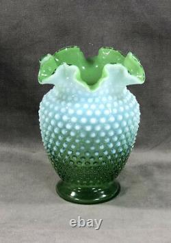 Fenton Green Opalescent Hobnail 6 Vase 1938-1942 Super Rare