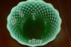 Fenton Green Opalescent Hobnail Punch Bowl Base 12 Cups with Holders GLOWS
