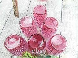 Fenton Hobnail Cranberry Opalescent Jug Pearlescent With 6-5 Tumblers