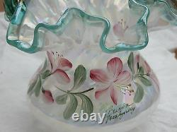 Fenton Iridized French Opalescent Spiral Optic Basket 90th 11 Family Signatures