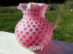 Fenton-L G Wright Cranberry Opalescent Honeycomb Coin Dot Milk Pitcher 6.5H