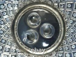 Fenton Opalescent Glass Aqua Blue Crest Diamond Lace 3 Horn Epergne