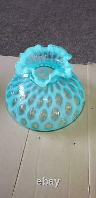 Fenton Rare 10 Glass Lamp Shade Blue Coin Dot Opalescent