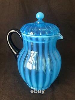 Fenton Rib Optic Blue Lemonade Lidded Pitcher and 4 Mug Cup Handle Opalescent