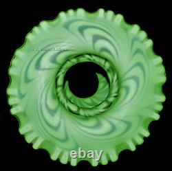 Fenton Swirled Feather Green Opalescent Satin #2090 Fairy Lamp / Light