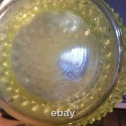 Fenton Vaseline Opalescent Glass Hobnail Water Set 7 Pc Original Vintage USA