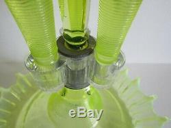 Fenton Vaseline Opalescent Threaded Glass Epergne