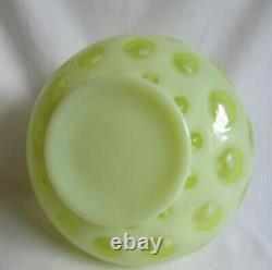 Fenton Vintage Glass 5-1/2 Coin Dot Topaz Opalescent Vase # 1440