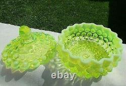 Fenton Vintage Topaz Vaseline Opalescent Hobnail Covered Candy Dish 5.25h