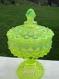 Fenton Vintage Topaz Vaseline Opalescent Hobnail Covered Comport 8.5h Mint